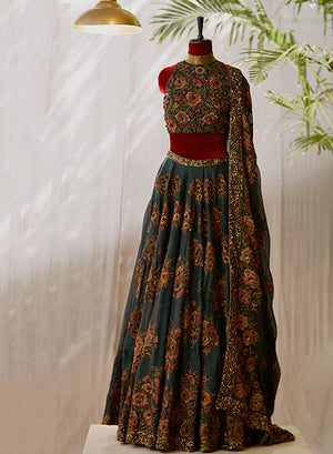 Bottle Green Lehenga - nakulsen
