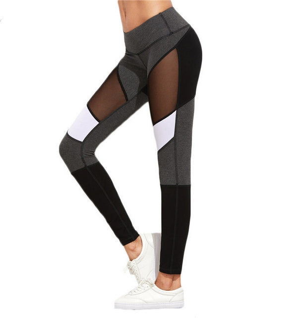 MESH PANEL CASUAL LEGGINGS - BLACK AND WHITE