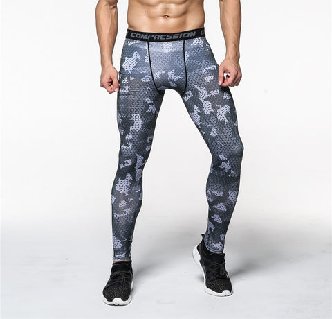 CAMO COMPRESSION PANTS - GREY