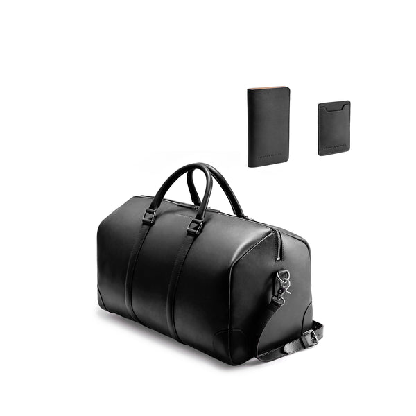 CLASSY TRAVEL SET - BLACK/NATURAL BEIGE