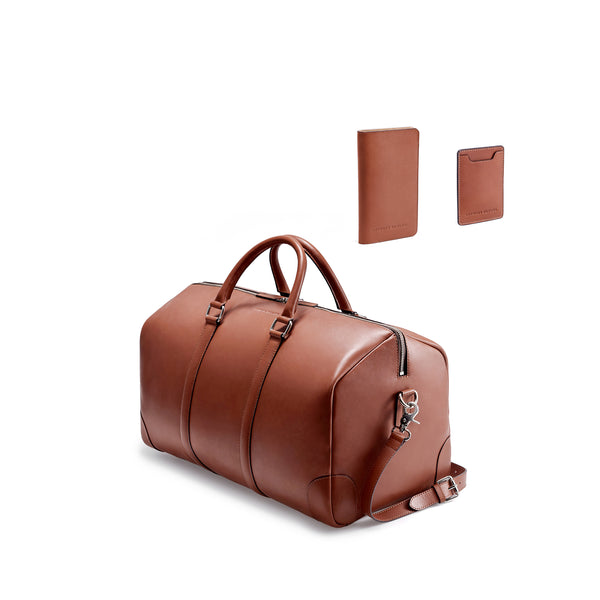 CLASSY TRAVEL SET - COGNAC/NATURAL BEIGE