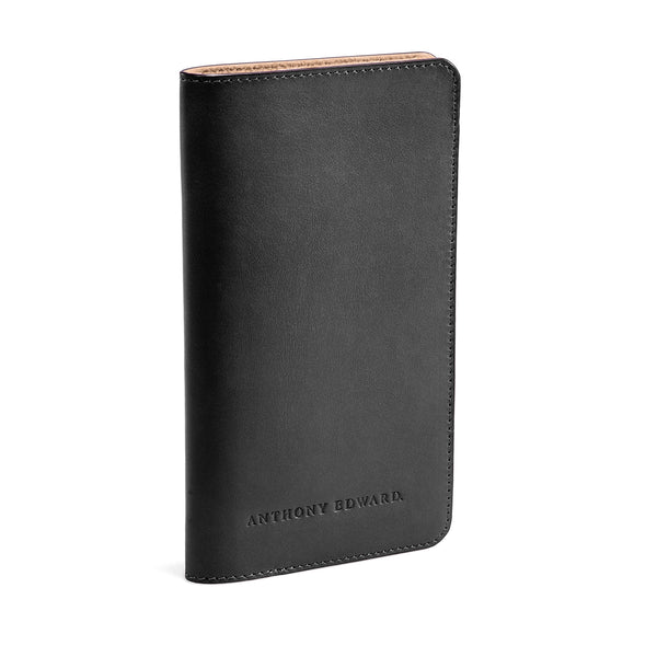 PASSPORT CASE BLACK NATURAL BEIGE