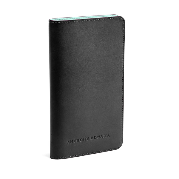 PASSPORT CASE BLACK CLEARLY TURQUOISE