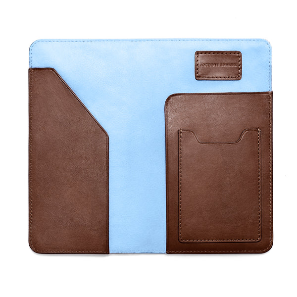 PASSPORT CASE BROWN CRYSTAL BLUE