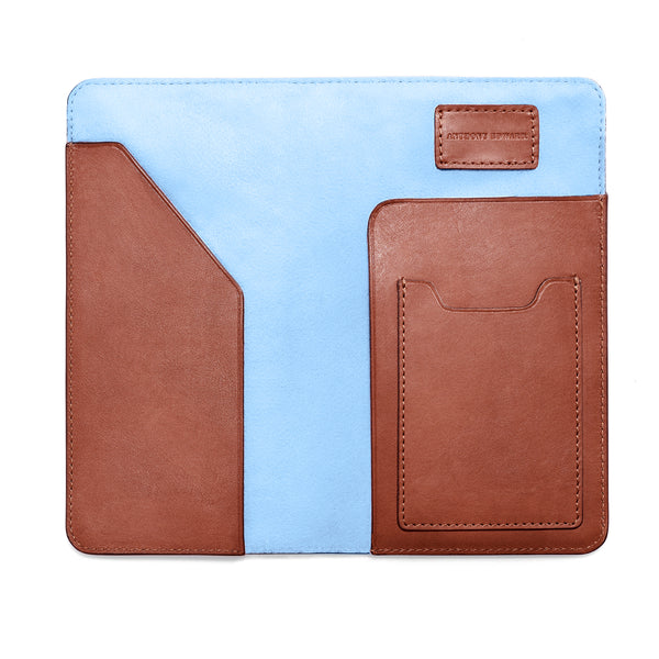 PASSPORT CASE COGNAC CRYSTAL BLUE