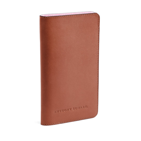 PASSPORT CASE COGNAC CORAL PINK