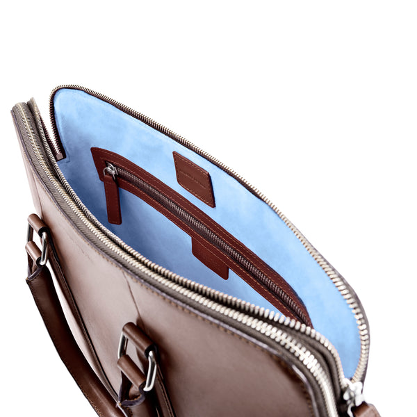 CLASSY BRIEFCASE BROWN CRYSTAL BLUE (276629979162)