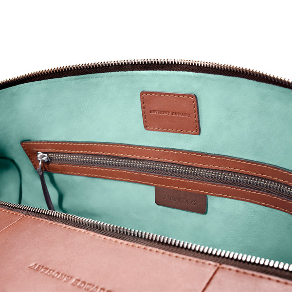 CLASSY DUFFLE  COGNAC CLEARLY TURQUOISE