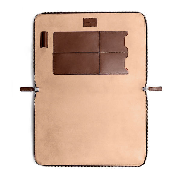 "LAPTOP PORTFOLIO 15"" BROWN NATURAL BEIGE"