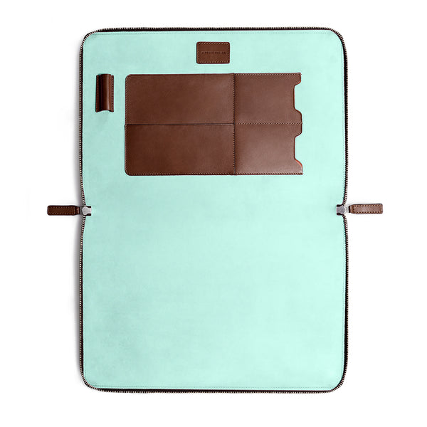 "LAPTOP PORTFOLIO 13"" BROWN CLEARLY TURQUOISE"