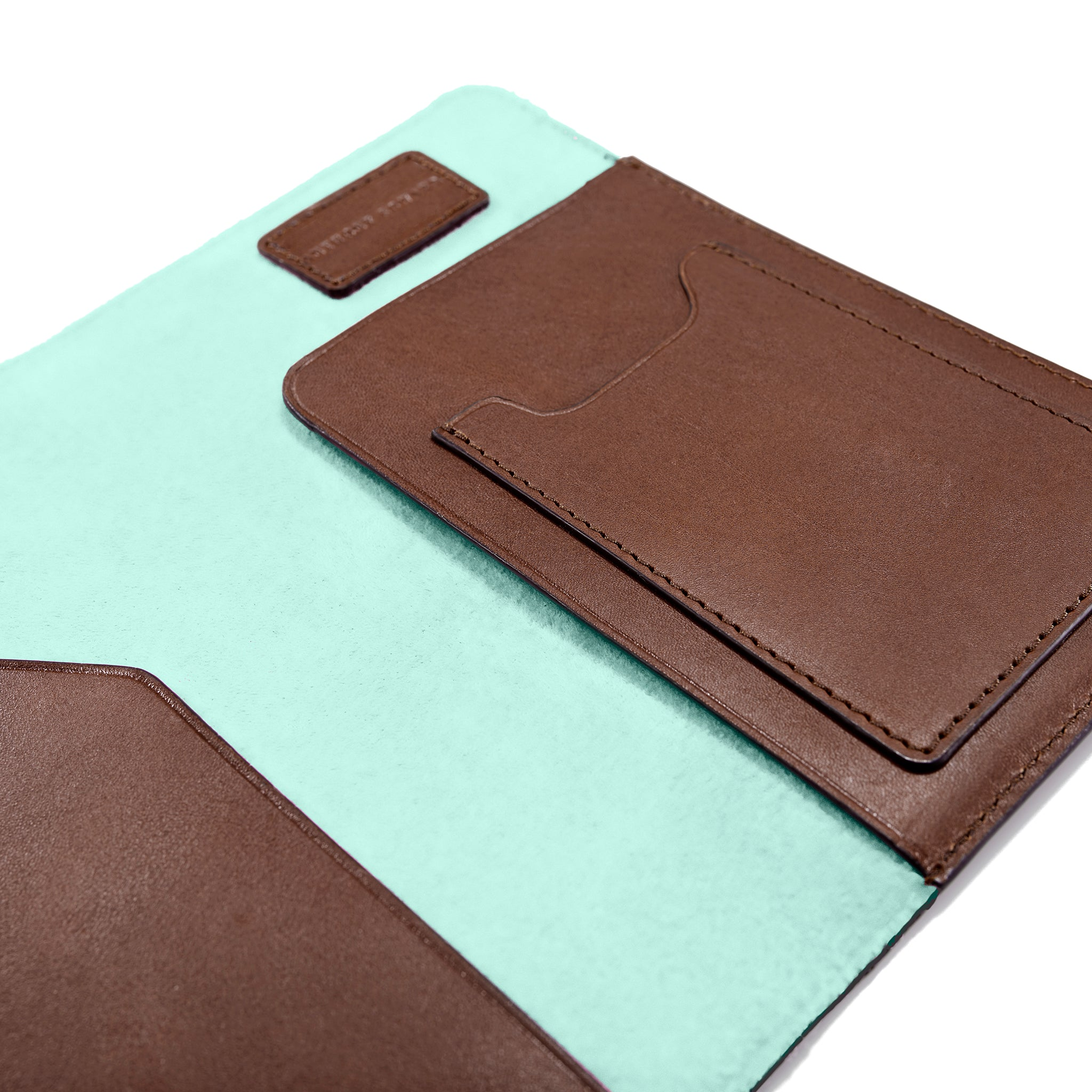 PASSPORT CASE BROWN CLEARLY TURQUOISE