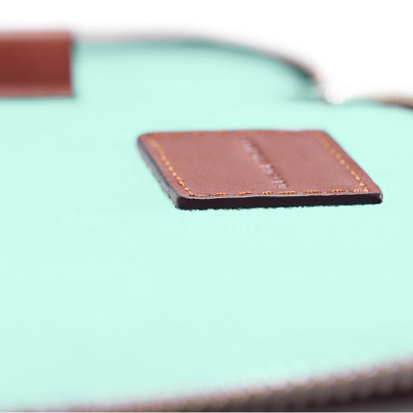 "LAPTOP PORTFOLIO 12"" COGNAC CLEARLY TURQUOISE"