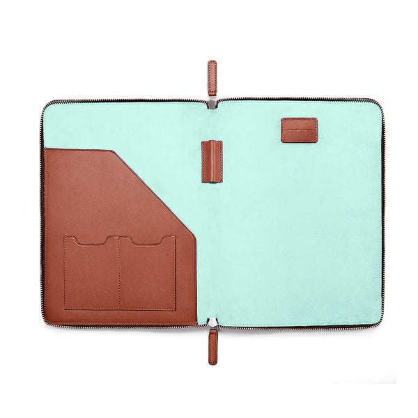 "LAPTOP PORTFOLIO 12"" COGNAC CLEARLY TURQUOISE (1920068714545)"