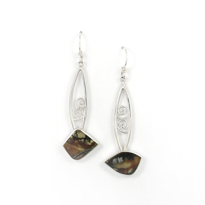 Picasso Jasper Earrings with Spirals