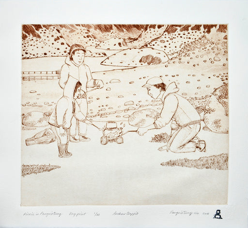 Picnic in Pangnirtung Dry Point Print