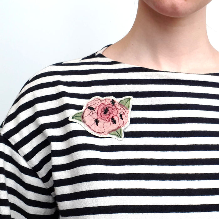 Embroidered Peony Brooch