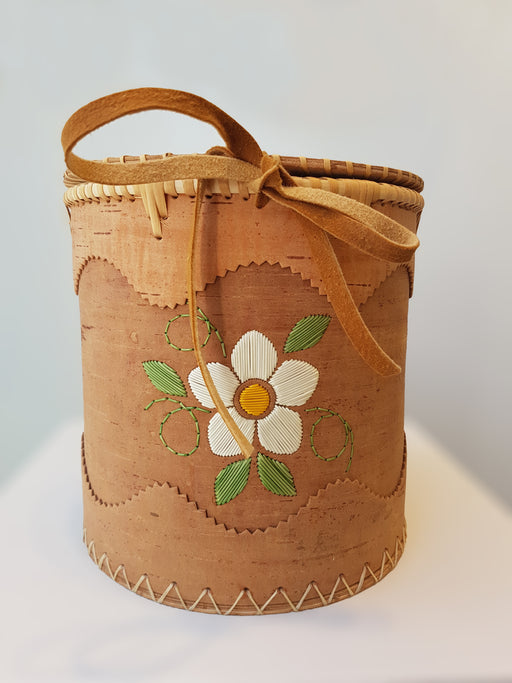 White Flower Cedar Basket