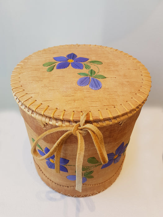 Purple Flower Cedar Basket