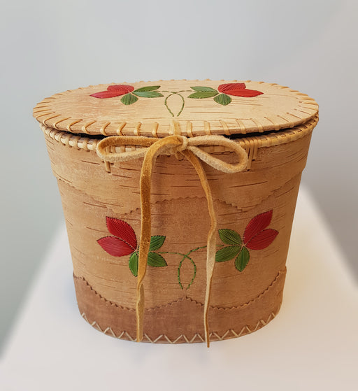 Red Flower Oval Cedar Basket