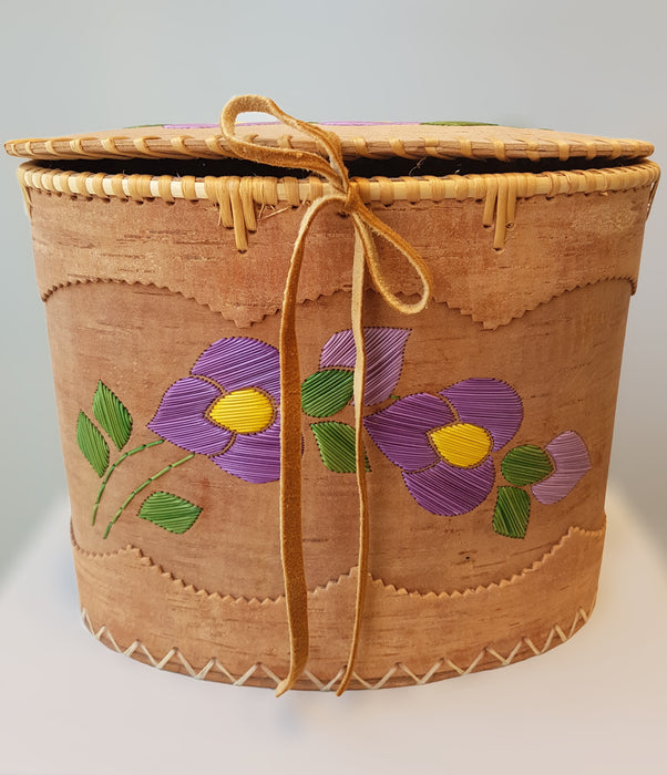 Purple Flower Oval Birch Basket