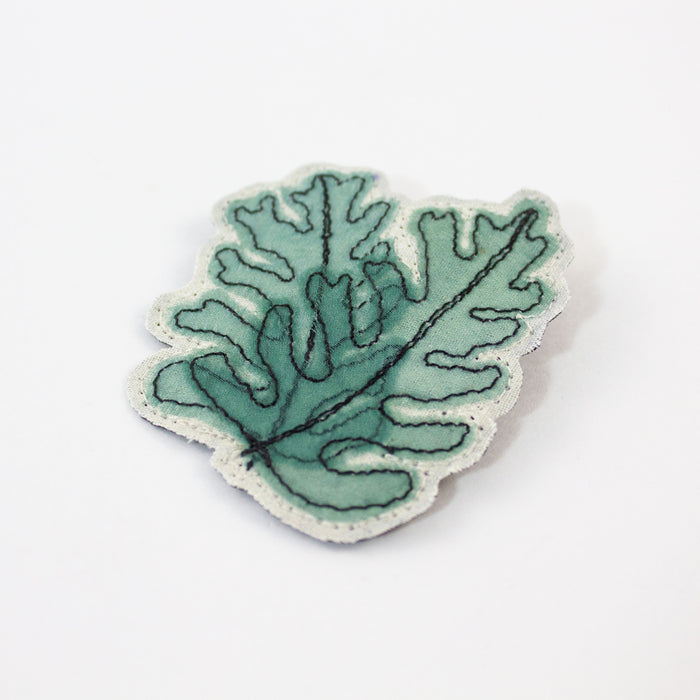 Embroidered Overlapping Leaves Brooch