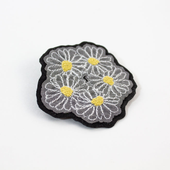 Embroidered Daisies Brooch