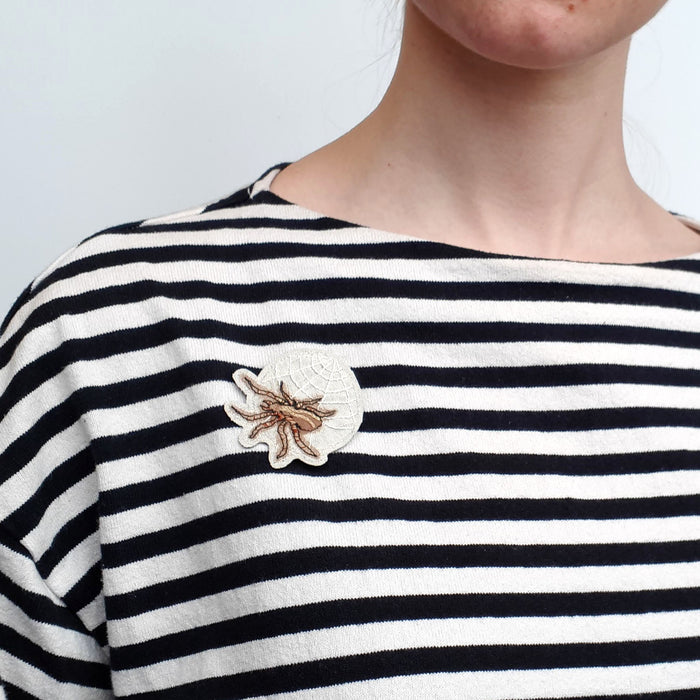 Embroidered Spider Brooch