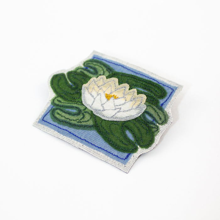 Embroidered Water Lily Brooch