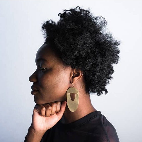 Brass Acorn Shield Earrings
