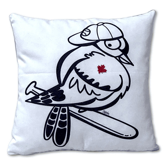 Baseball Blue Jay Pillow Cover - Plaid Back