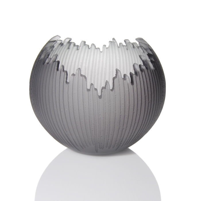 Grey Carved Glass Orb by Courtney Downman