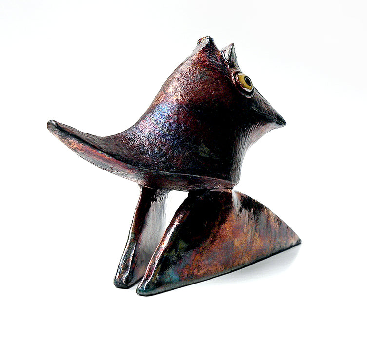 Copper Raku Bird Sculpture