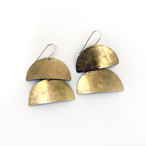 Brass CataPillar Earrings - Small