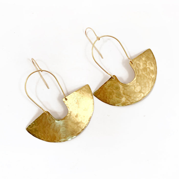Goddess Shield Earrings in Brass