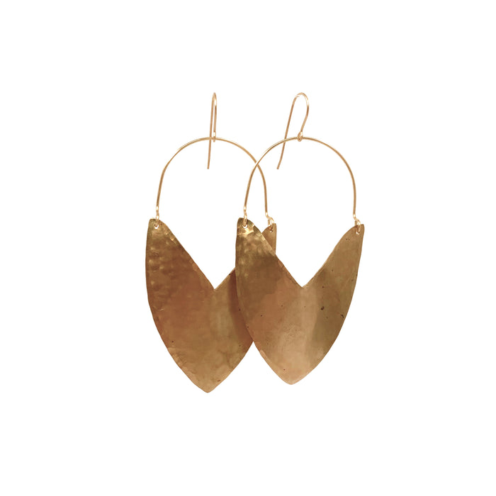 Tulip Shield Brass Earrings - Large