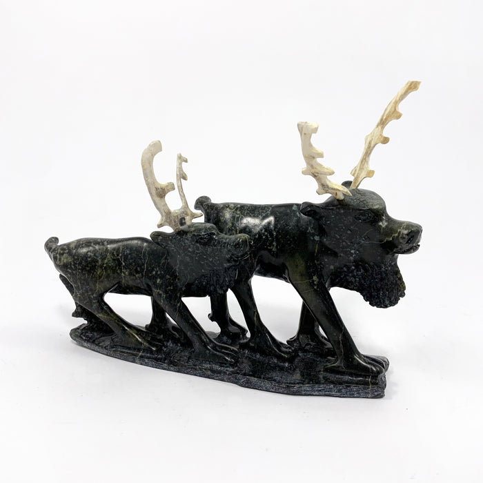 Two Caribou Sculpture