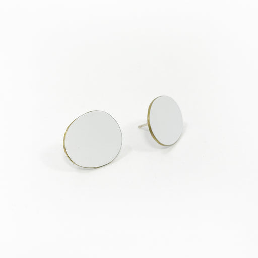 Flat Brass Rimmed Earrings