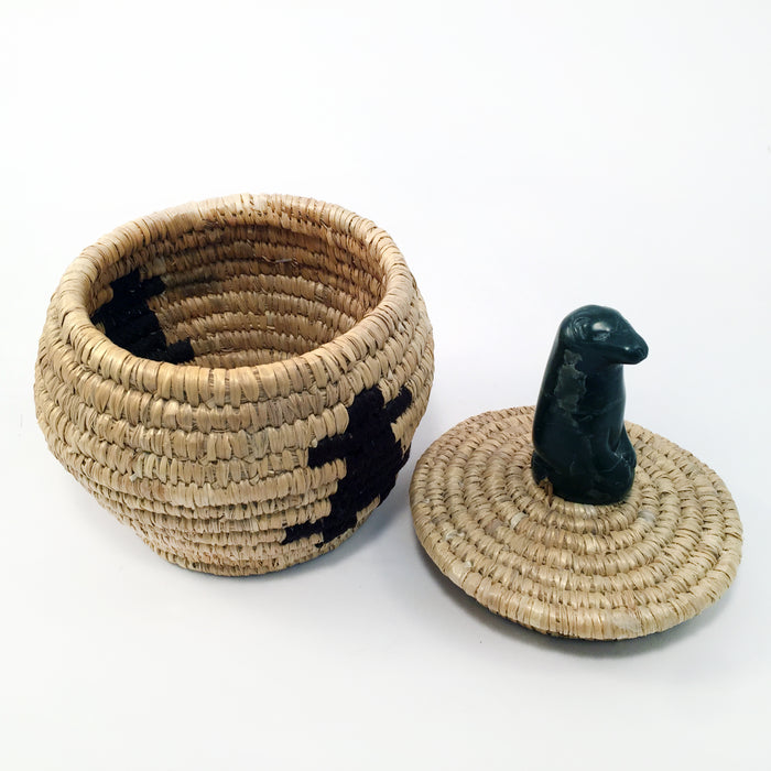 Woven Grass Basket with Stone Figure