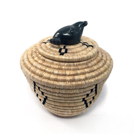 Lidded Basket with Seal Sculpture