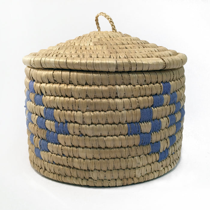 Lyme Grass Basket with Purple Thread