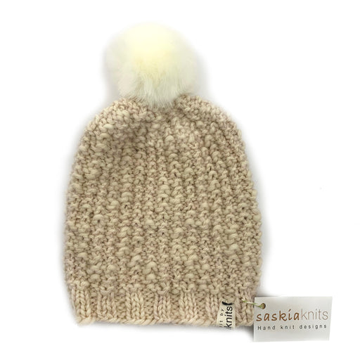 Pearl Hats with Faux Fur Pom-Pom