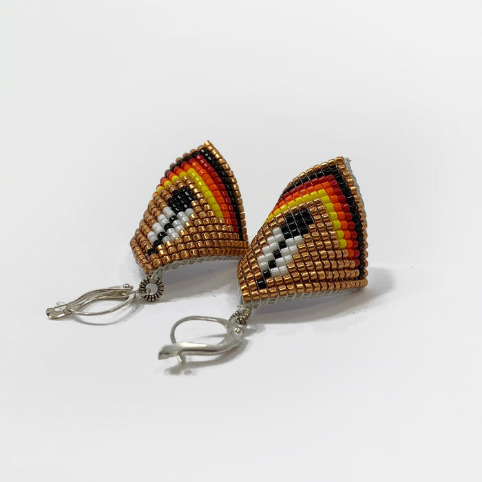 Curved Beaded Earrings - Feather Design