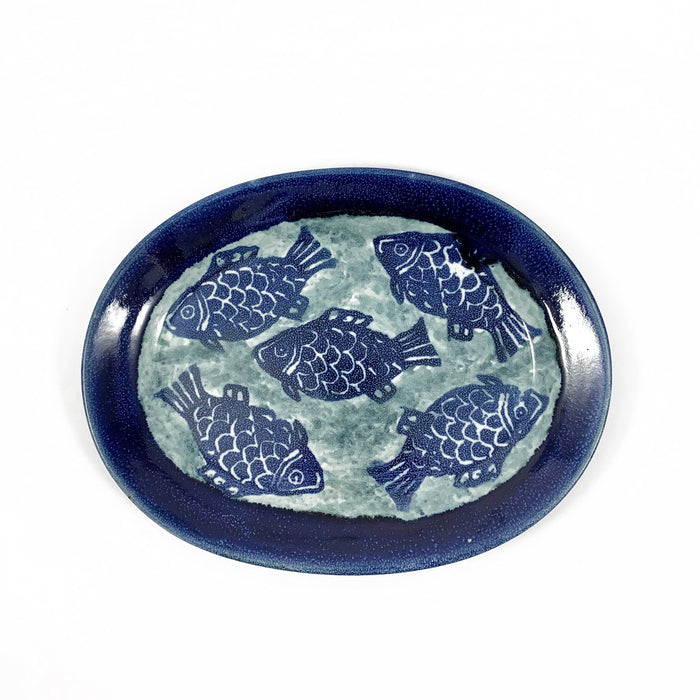 Fish Motif Oval Serving Plate