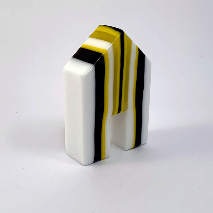 Yellow, White, and Black Striped House