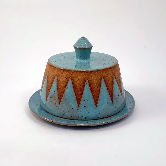 Graphic Turquoise Butter Dishes