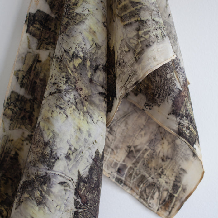 Eco-printed Silk Scarf - Earth Tones