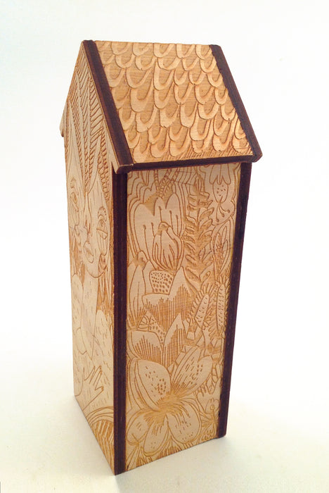 Etched Wood House (Floral)