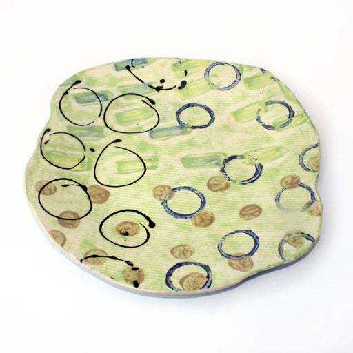 Green Decorative Platter with Circles by Mary McKenzie