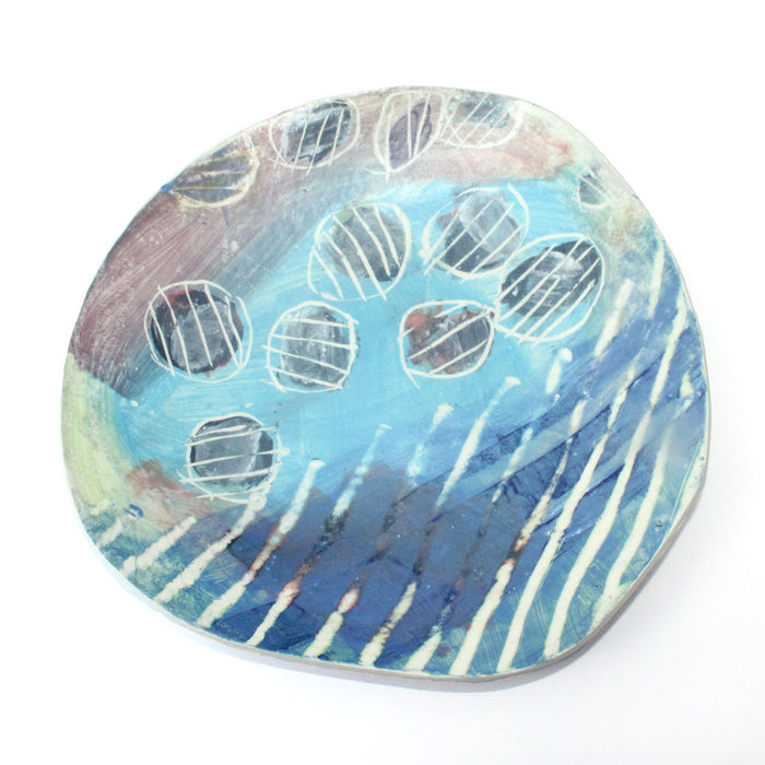 Funky Blue Decorative Platter by Mary McKenzie