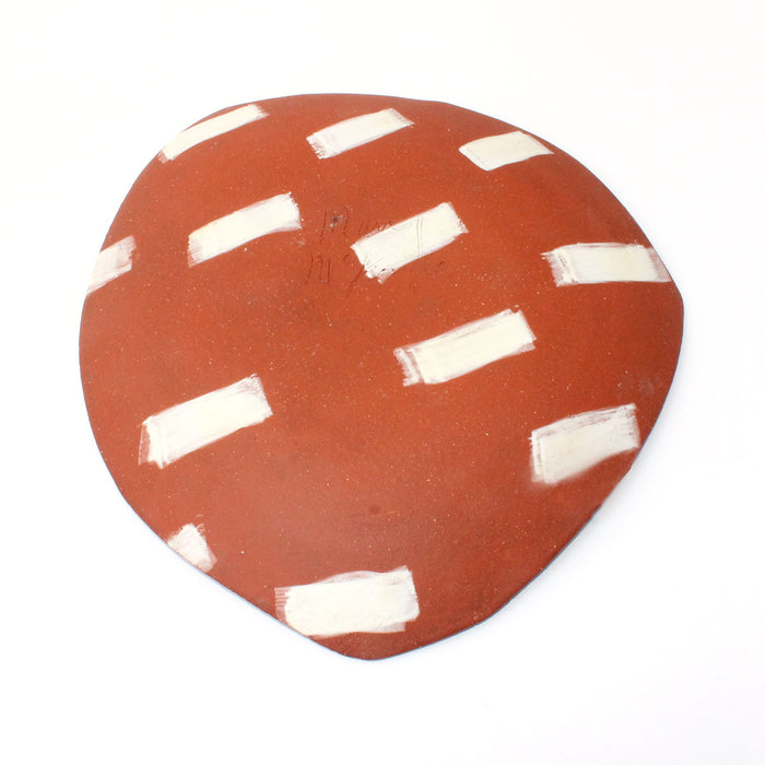 Red Clay with Blue Dots Decorative Platter by Mary McKenzie
